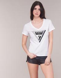 Textiel Dames T-shirts korte mouwen Guess CN PEARL Wit