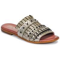 Schoenen Dames Leren slippers Mjus CHAT MULE Kaki / Metaal