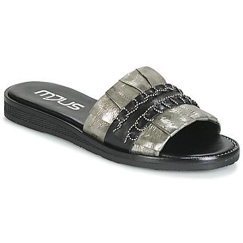 Schoenen Dames Leren slippers Mjus TEMPLE Kaki / Zwart