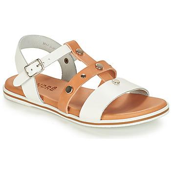 Schoenen Jongens Sandalen / Open schoenen André MILAN Wit / Camel