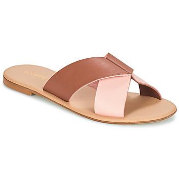Schoenen Dames Leren slippers André CRYTELLE Bruin