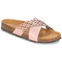 Schoenen Dames Leren slippers André ROULADE Roze