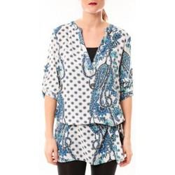 Textiel Dames Korte jurken De Fil En Aiguille Tunique Love Look 1102 Bleu/Blanc Blauw