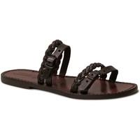 Schoenen Dames Leren slippers Gianluca - L'artigiano Del Cuoio 575 D MORO CUOIO Testa di Moro