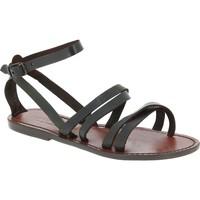 Schoenen Dames Sandalen / Open schoenen Gianluca - L'artigiano Del Cuoio 581 D MORO CUOIO Testa di Moro