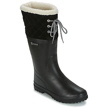 Schoenen Dames Regenlaarzen Aigle POLKA GIBOULEE Zwart