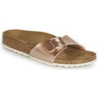 Schoenen Dames Leren slippers Birkenstock MADRID Roze / Goud