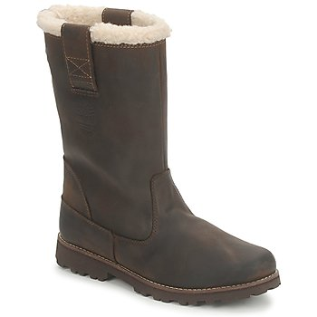 Schoenen Meisjes Hoge laarzen Timberland 8 IN PULL ON WP BOOT WITH SHEARLING Bruin / Donker