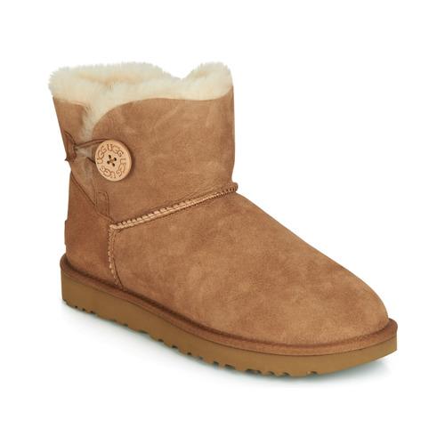 Schoenen Dames Laarzen UGG MINI BAILEY BUTTON II Camel