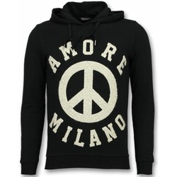 Textiel Heren Sweaters / Sweatshirts Tony Backer Flockprint Hoodie - Peace Hoodie - Zwart