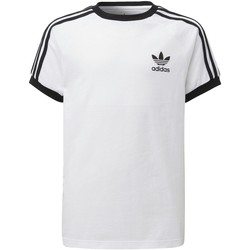 Textiel Kinderen T-shirts korte mouwen adidas Originals 3-Stripes Shirt Wit