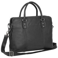 Tassen Dames Computertassen Chesterfield Maria 3-vaks Shoulderbag 15 inch Zwart