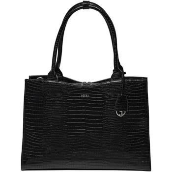Tassen Dames Handtassen lang hengsel Socha Laptoptas 15.6 inch Croco Jet Zwart