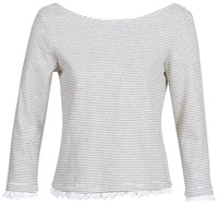 Textiel Dames T-shirts met lange mouwen Betty London KARA Wit / Marine