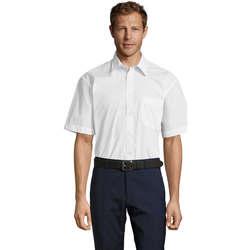 Textiel Heren Overhemden korte mouwen Sols BRISTOL MODERN WORK Blanco
