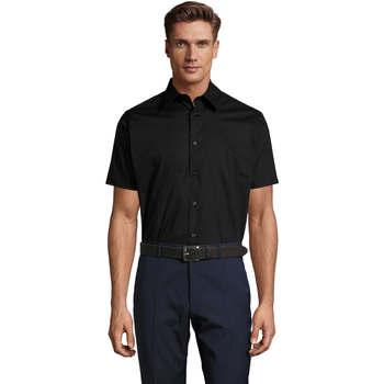 Textiel Heren Overhemden korte mouwen Sols BROADWAY STRECH MODERN Negro