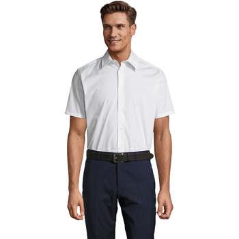 Textiel Heren Overhemden korte mouwen Sols BROADWAY STRECH MODERN Blanco
