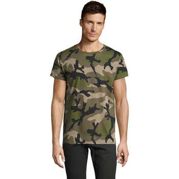 Textiel Heren T-shirts korte mouwen Sols CAMOUFLAGE DESIGN MEN Verde