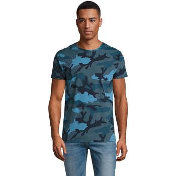 Textiel Heren T-shirts korte mouwen Sols CAMOUFLAGE DESIGN MEN Azul