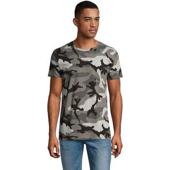 Textiel Heren T-shirts korte mouwen Sols CAMOUFLAGE DESIGN MEN Gris