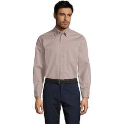 Textiel Heren Overhemden lange mouwen Sols BEL-AIR TWILL MEN Beige