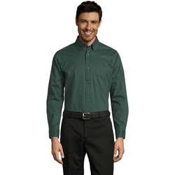 Textiel Heren Overhemden lange mouwen Sols BEL-AIR TWILL MEN Verde