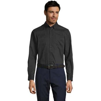 Textiel Heren Overhemden lange mouwen Sols BEL-AIR TWILL MEN Negro