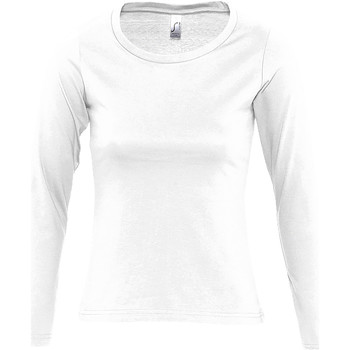 Textiel Dames T-shirts met lange mouwen Sols MAJESTIC COLORS GIRL Blanco
