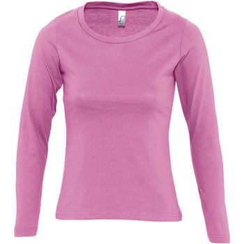 Textiel Dames T-shirts met lange mouwen Sols MAJESTIC COLORS GIRL Rosa