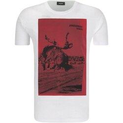 Textiel Heren T-shirts korte mouwen Dsquared S71GD0712 Wit
