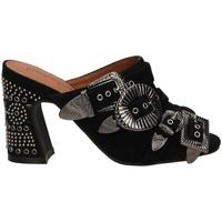 Schoenen Dames Leren slippers Jeffrey Campbell JCS FANTA-JWL SUEDE black-nero