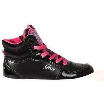 Schoenen Kinderen Hoge sneakers Geox Sneaker Meisjes Hart roze glitter . Zwart