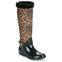 Schoenen Dames Regenlaarzen Guess CICELY Zwart / Luipaard