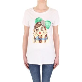 Textiel Dames T-shirts korte mouwen Vicolo RU0081 Panna