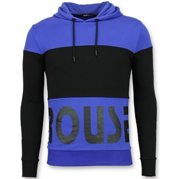 Textiel Heren Sweaters / Sweatshirts Enos Hoodie Slim Fit - Striped Hooded Crewneck - Zwart, Blauw