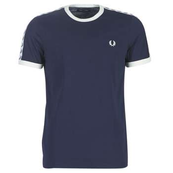Textiel Heren T-shirts korte mouwen Fred Perry TAPED RINGER T-SHIRT Marine