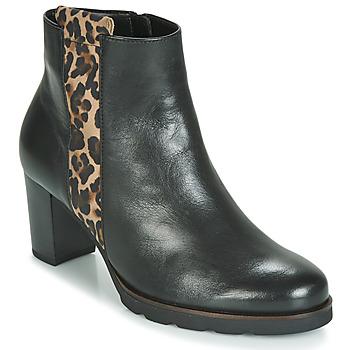 Schoenen Dames Enkellaarzen Gabor 3554122 Zwart / Luipaard