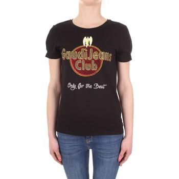 Textiel Dames T-shirts korte mouwen Gaudi 911BD64039 Nero