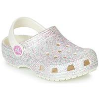 Schoenen Kinderen Klompen Crocs CLASSIC GLITTER CLOG K Wit