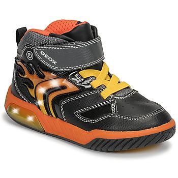 Schoenen Jongens Hoge sneakers Geox J INEK BOY Zwart / Oranje