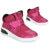 Schoenen Meisjes Hoge sneakers Geox J XLED GIRL Roze / Fushia / Zwart / Led