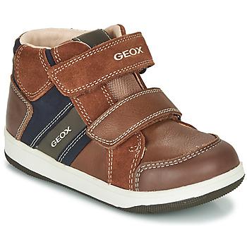 Schoenen Jongens Hoge sneakers Geox B NEW FLICK BOY Bruin / Blauw