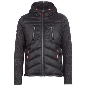 Textiel Heren Dons gevoerde jassen Superdry STORM HYBRID ZIPHOOD Zwart