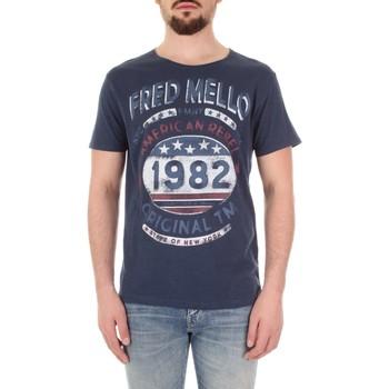 Textiel Heren T-shirts korte mouwen Fred Mello FM19S09TG Blu