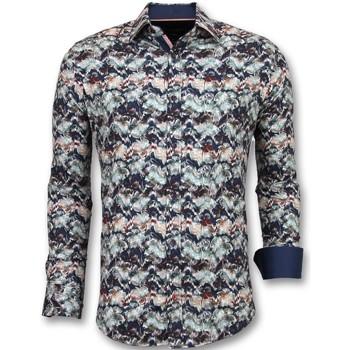 Textiel Heren Overhemden lange mouwen Tony Backer Bijzondere Overhemden - Luxe Italiaanse  - Blauw