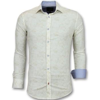 Textiel Heren Overhemden lange mouwen Tony Backer Overhemden Italiaans -  Met Print - Beige