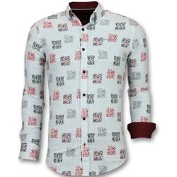 Textiel Heren Overhemden lange mouwen Tony Backer Getailleerde Overhemden - Bloemen  - Wit