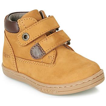 Schoenen Jongens Laarzen Kickers TACKEASY Camel / Bruin