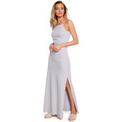 Textiel Dames Tops / Blousjes Moe M432 Maxi katoenen jurk met spaghettibandjes - grijs