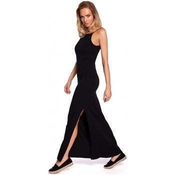 Textiel Dames Tops / Blousjes Moe M432 Maxi katoenen jurk met spaghettibandjes - zwart